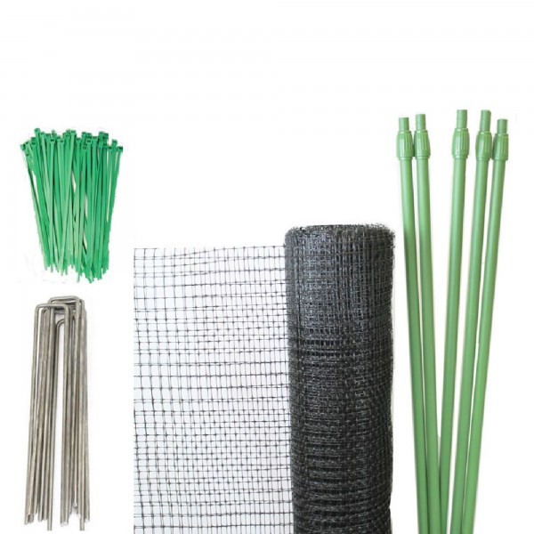 Tenax Deer Net Folded DIY Deer Fence Kit 7' x 100' Black 2A130002
